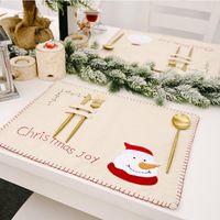 Patrón 12pcs LemonBest Lino Mantel de Navidad Vajilla Mat de Santa muñeco de nieve de la arpillera de lino Mantel de Navidad