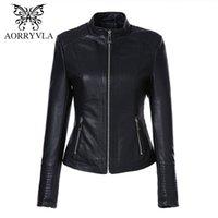 Aorryvla Artı Boyutu kadın Deri Ceket Mandarin Yaka Fermuar Siyah Faux Deri Ceket Ince Stil Sonbahar Kadın Dış Giyim 201027