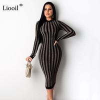 Liooil 섹시한 스트라이프 바디 콘 미디 드레스 2020 스프링 긴 소매 O 넥 지퍼 꽉 조각 한 드레스 여성 파티 나이트 클럽 복장