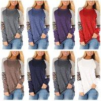 Ins femmes T-shirt léopard rayé chemisier chemisier à manches longues t-shirt t-shirt pull contraste couleur chemises printemps blouses dame vêtements 2xl