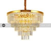 Luxo moderno cristal candelabro redondo sala de estar candelabros de cadeia de iluminação lareira diodo emissor de luz ouro lâmpada de pingente cristal lustre