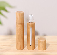 10ml Bambou naturel rechargeable Essentiel Essential Essential parfum parfum parfum de bouteille de boule de rouleau en acier pour le voyage à la maison EEE25