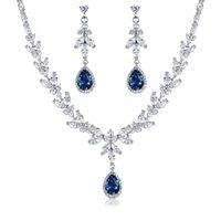 Wholesale di marca asta di marca e marquise taglio cubico zirconia cz collana di cristallo e orecchini set di gioielli da sposa nuziale