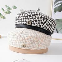 القبعات جين-swhbias 2021 للنساء الصوفين منقوشة مثمنة قبعة الخريف الشتاء خمر الرسام القبعات مع زر معدني أسود