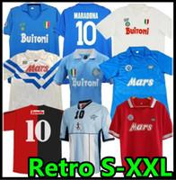 1987 1988 1999 Napoli Retro Futbol Formaları 87 88 89 91 93 COPPA Italia Napoli Maradona Vintage Calcio Klasik Bağbozumu 1986 Futbol Gömlek