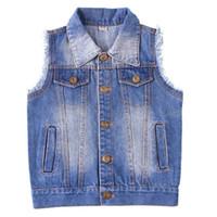 Dulce Amor Kinder Denim-Weste-Jacken-Mantel Frühlings-Baby-Mädchen-Kleidung Cowboy Weste ärmellos Kinder Oberseitenoberbekleidungt 201110