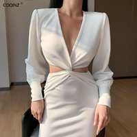Casual Dresses Sexy Bodycon Woman Goth Dress Winter Long Sleeve Elegant For Women Party Night Club 2021 Black Designer Clothes 27114P