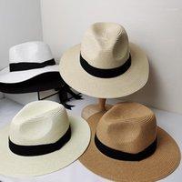 أزياء الصيف الأبيض شقة بريم واسعة بريم المرأة سترات المرأة الجاز فيدوراس قبعة الشمس التظليل قبعة شاطئ قبعة الصيف