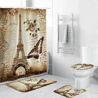 Cortinas de ducha DAFIELD COLORTIN SET BATT MATS FUTS TOURAS DE AUERO Vintage Paris Torre con estampado de flores de mariposa