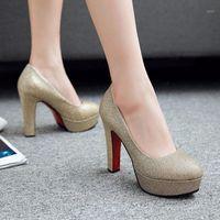 Elbise Ayakkabı ZoGeer Klasik Yüksek Topuk Platformu Kadınlar Moda Payetli Pembe Altın Gümüş Topuklu Düğün Parti Ofis Kadın1 Pompalar1