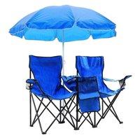 Dobrando Dobrável Ao Ar Livre Cadeira de 2 Assento Com Guarda-sol Removível Portátil Piquenique Refrigerador Camping Beach Table e Carry Bag Item Hot