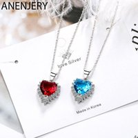 ANENJERY Classic Blue Red Heart Shaped Pendant Necklaces For Women Silver Color Zircon Chain Necklace S-N438