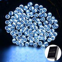 Brand New White 100 LED Słoneczne Stringi Wróżka Światła Boże Narodzenie Party Wodoodporne Sznurki Świąteczne Wysokiej jakości Struny materiałowe