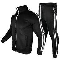 Mens Tracksuit Cardigan 스포츠웨어 지퍼 포켓 바지 패션 두 조각 단색 필수 요소 집합