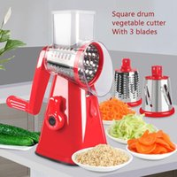 The Latest Manual Vegetable Cutter Three In One Potato Cheese Kitchen Tool Multifunctional Round Mandolin Slicer Rotating Grater 201112