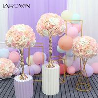 Jarown Yapay 35 cm Düğün Çiçek Topu Simülasyon Gül Ortanca Çiçekler Yarımküre Roma Sütun Ev Partisi Dekor Flores T200509