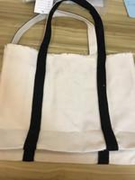étui de rangement blanc canvas shopping sac épais caisse d'épaule en toile noir impression noire