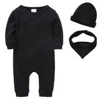 Mangas largas de primavera bebé mamelucos de algodón sólido childern recién nacidos sombreros bebé babero niñas ropa ropa lj201223