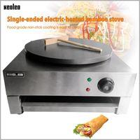 빵 제조업체 Xeoleo 싱글 플레이트 전기 크레페 메이커 상업용 스테인레스 스틸 팬케이크 기계 220Vround Factplate