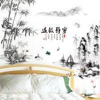 [Shijuekongjian] Negro Color Bambú Pegatinas de la Montaña Montaña China Estilo Ríos Barcos Mural Calcomanías para la decoración de la sala de estar 201202