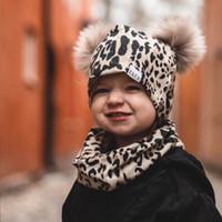 Ins leopard baby hats + шарф 2 шт. / Комплект полосы младенческая шапка цветок новорожденных шляпы детские шарфы новорожденные шарф младенческие кольца шарфы b3181
