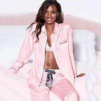 Nouveau printemps et automne cardigan à manches longues à manches longues taille de grande taille Silk Silk Mesdames Service à domicile Stripe Stripe Pyjamas SE 201031