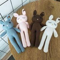 1 stücke 26cm Handgemachte Kaninchen Häkeln Wolle Puppe Wolle Tier Gefüllte Plüsch Spielzeug Baby Beruhigende Neugeborene Baby Fotografie und Täglich Spielzeug 201212