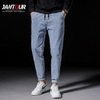 Männer Jeans Marke Männer Kleidung 2021 Winter Hellblau Dicke Elastizität Casual Pocket Harem Hosen Regular Fit Männliche Hose 38