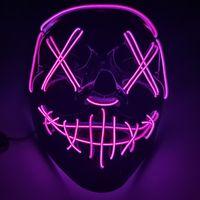 Máscara de Halloween LED LED Encienda las máscaras de la fiesta El año de las elecciones de purga Grandes máscaras divertidas Festival de Cosplay Suministros de disfraces de Cosplay Glow en GGB3174