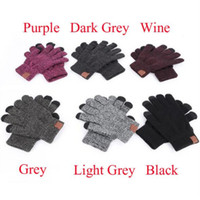 Gestrickte Handschuhe Mann Frau Solide Winter Warme Tragbare Handschuh Outdoor Sports Fünf Finger Touchscreen Handschuhe für iPhone 12 Pro Max Opp Bag