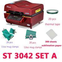 Drucker Set A ST-3042 3D-Vakuum-Hitze-Pressemaschine-Sublimationsdrucker für Telefongehäuse / Becher / Platten / Gläser / Rock1