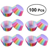 Kitchen Baking 100 Pcs Rainbow Paper Cake Cup Cupcake Paper Muffin Party Tray Bakeware Stands Cupcake Cases Liners Wedding Party Y200618