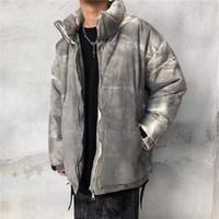 Градиент High Street Tie-Dye Свободная зимняя куртка Мужчины и женщины промывают ретро толстые теплые хлопковые мягкие пальто негабаритные одежды отворота
