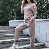 Taotrees Omuz Oymak Boncuk Kazak Tops Pantolon Suits Uzun Kollu Kazaklar Örme Süveter Pantolon Set1