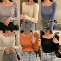 SoperWillton Bahar Yeni Kadın T-Shirt Moda Eğlence Kadın T-shirt Uzun Kollu Sıkı 6 Renkler O-Boyun Lady Tshirt Temel Tees 201028