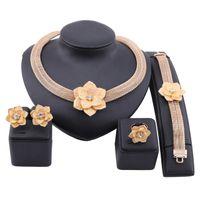 Африканские золотые цветные украшения для женщин свадебные свадебные подарки вечеринки ожерелье серьги кольцо набор саудовской аравии ювелирные изделия