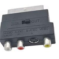 Bloque de AV de Adaptador SCART a 3 RCA Phono Composite S-Video con interruptor de entrada / salida para TV DVD VCR