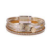 New PU Leather Multi stick diamond Life Tree Bohemian fashion girl bracelet