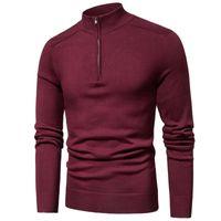 Luulla Men Spring Новый повседневная хлопчатобумажная водолазка свитера пуловер мужская осень мода вязаная zip свитер куртка мужчины коллекция 201123