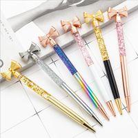 أقلام حبر جاف اللون bowknot ballpois الإبداعية الأزياء الذهب الغبار حبر جاف القلم لوازم الكتابة الإعلان تخصيص الهدايا التجارية XTL445