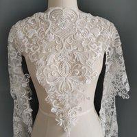 Hochwertige weiße Rayon Spitze mit Perlenstickerei Spitze-Ordnungs-Hochzeitskleid-Spitze-Band Zu M008