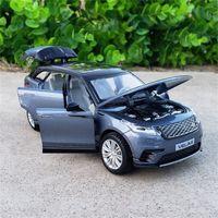 1:32 Escala Modelo de Carro SUV de Luxo de Luxo de Metal Diecast para Range Rover Coleção Velar Veículo Off-Road Modelo Soundlight Brinquedos Car LJ201209