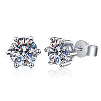 Anziw 925 Sterling Silver Moissanite Diamante Simples Brincos para Mulheres Clássico Brincos Jóia Do Casamento