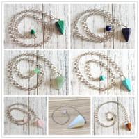 Petite taille Reiki Healing Pendulums Naturels Pendant Pendentif Ambilie Crystal Méditation Hexagonal Pendule pour hommes Femmes