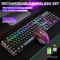 Clavier Souris Combos Wireless Gaming Combo avec Rainbow LED Backlit Backlit Backlight Colorful RechargeaBlle Pad Mélange Backlit1
