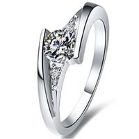 الاسترليني الفضة خاتم الخطوبة أنثى 0.6ct الملتوية نجمة nscd مقلد الماس الدائري للنساء 925 خاتم الفضة الشحن السريع من الولايات المتحدة الأمريكية