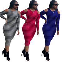 여성 원피스 드레스 디자이너 스트라이프 오프 어깨 긴 소매 캐주얼 드레스 숙녀 Bodysuit Midi 스커트 플러스 사이즈 캐주얼 옷