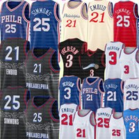 2021 Бен 25 Симмонс Джерси Новый Джоэл 21 Embiid Jersey Mens Allen 3 Иверсосон Баскетбол Джерси Ретро сетки Иверсон Джерси