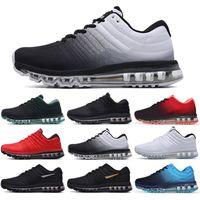 Max 2017 انخفاض الشحن 2017 أحذية رجالية أحذية للنساء حذاء رياضة أسود أبيض عالية الجودة الرياضة المدربين الرياضة الحجم الولايات المتحدة 5،5 حتي Nike Air Max 2017 11 X32