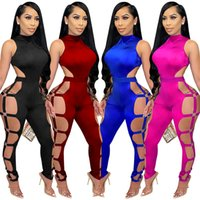 Mode Sexy Femmes Combinaisons Sans Manches Party Club Hollow Out Bandage Bandage Body Skinny Romper Romper Rompers Jumpsuit Qualité